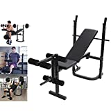 Adjustable Weight Bench with Squat Rack, Leg Extension and Leg Curl for Home Gym Ab Exercises Strength Training Olympic Weight Benches(USA in Stock)