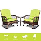 ENSTVER 3 Pieces Patio Conversation Set w/ 2 Rattan Wicker Rocking Chairs and Glass Table,for Garden Backyard Lown Porch (Green)