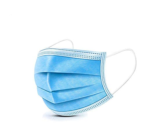 HS-ZGC 50-Piece Surgical Standard Mask, Disposable Blue Non-Woven Mask, Dust-Proof Safety Breathable Mask, Respirator with Earmuffs