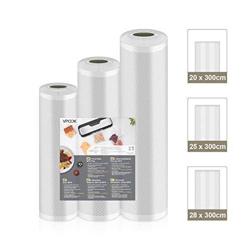 VPCOK 3 in 1 Profi Folienrollen Set, 28x300cm/25x300cm/20x300cm, vakuumbeutel für alle Vakuumierer und für Sous Vide geeignet, BPA frei, wiederverwendbar und Lebensmittelecht (Mehrweg)