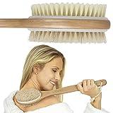 Vive Shower Brush - Dry Skin Body Exfoliator - Shower and Bath Scrubber For Wash Brushing, Exfoliating, Cellulite, Foot Scrub, Leg Exfoliant - Soft and Stiff Massage Bristles - Wooden Long Handle