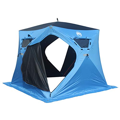 Nordic Legend 4 Person Portable Ice Fishing Shelter with 2 Big Doors-Diamond Door Guard System