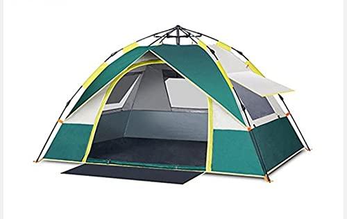 Tente de camping familiale pop-up instantanée, adaptée pour 2-3 personnes, auvent 100% étanche, tente sac à dos anti-pluie détachable, peut rapidement construire le camping-Dark green 2  205*195*130cm