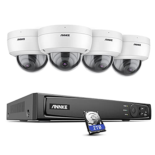 ANNKE H800 Dome 8MP 4K Ultra HD PoE NVR H.265 +, sistema de videovigilancia con cámaras 4K, IP67 a prueba de agua, IK10 a prueba de vandalismo, grabación de audio, compatible con tarjeta TF de 256GB, acceso remoto