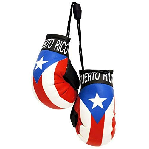 Puerto Rico Country Flag Mini Boxing Gloves to Hang Over Your Automobile Mirror