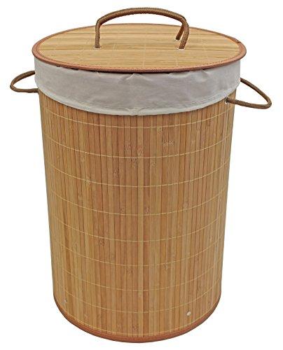 JVL Wäschekorb aus Bambusholz, rund, zusammenklappbar, Grau, 35x 50cm, Bambus, braun, 35 x 35 x 50 cm