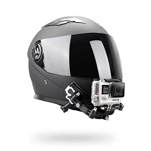 O RLY - Kit di montaggio per casco da casco, montaggio frontale laterale, orientabile, montaggio piatto curvo adesivo per GoPro Hero 3 4 5 6 7Black 8 Cam Action Camera Accessori