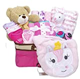 Joyful Arrival Deluxe Baby Gift Set (Girl or Boy) - Diaper Organizer, Baby Clothes & More (Mainly Clothes, Girl)