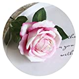 30cm Short Big Artificial Roses Branch Flowers Wedding Home Decoration Flannel Fabric Cute Pink Fake Flowers Crafts Party Decor,Rose Pink