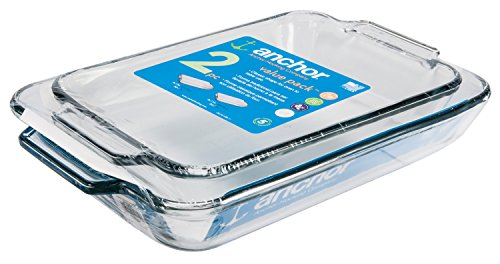 Anchor Hocking Oven Basics Glass Baking Dishes, Rectangular Value Pack, Set of 2