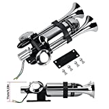 Train Air Horn kit,12V/24V Universal Dual Trumpet Stainless Steel Sustain horn for Truck Car Ship boat,Silver Prolong the sound Horn