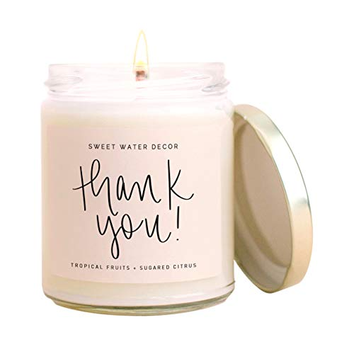 Sweet Water Decor Thank You Candle   Tropical Fruit and...