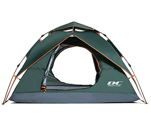 Diamond Candy Pop Up Tent 2-3 Person Waterproof Tents for Camping, Black Green