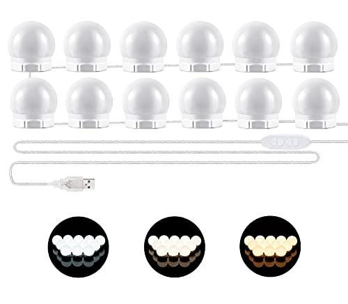 Luci da Specchio - Luci LED Stile Hollywood per Trucco,12 Lampadine Dimmerabili a Specchio Cosmetico, Illuminazione Tavolo Trucco Vanit, Specchio non Incluso [Classe di efficienza energetica A]