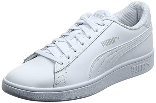 Puma Smash V2 Leather - Scarpe da Ginnastica Unisex - Adulto, Bianco (Puma White-Puma White), 41 EU