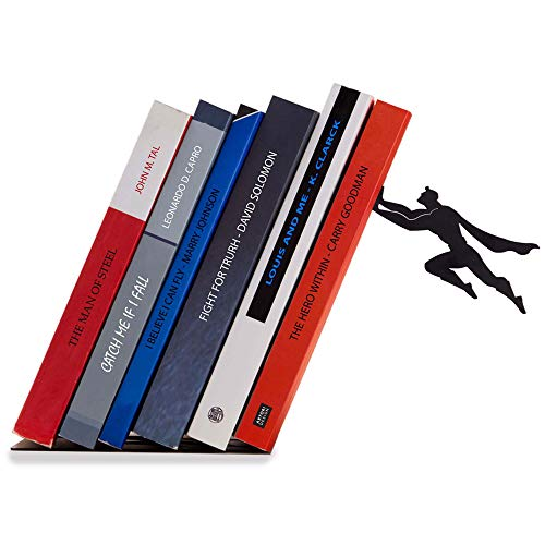 Artori Design Decorative Bookends for Shelf or Desk - Black Metal Book Ends - Superhero Bookend - Book Ends for Office - Cool Super Hero Book Stopper/Book Holder/Shelf Dividers - Book & Hero