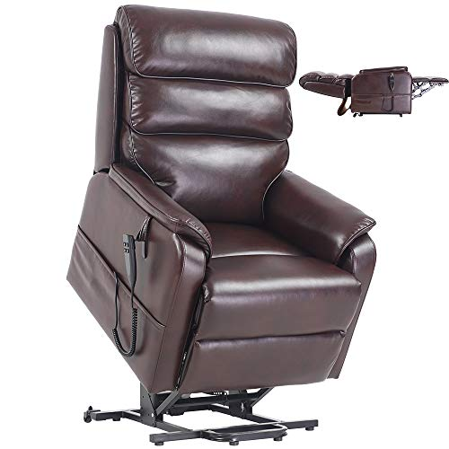 Jacky Home Lift Recliner Dual Motor Lay Flat Electric Power Chair for Elderly, Infinite Position Breathable Leather Heavy Duty Living Room Sturdy Sofa with Side Pocket (Red Brown)