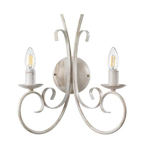 ONLI Applique 2 luci in Metallo Bianco Invecchiato