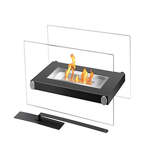 DKIEI Tabletop Fireplace Bio Ethanol Fireplace Tempered Glass Panes & Matte Black Steel Base Freestanding Heater