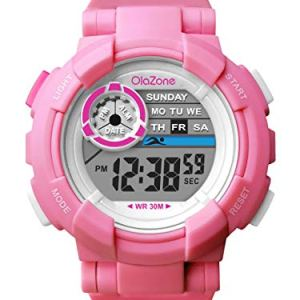 Girls Watch Kids Digital Sports 7-Color Flashing Light Waterproof 100FT Alarm Gifts for Girls Age for 7-10 487