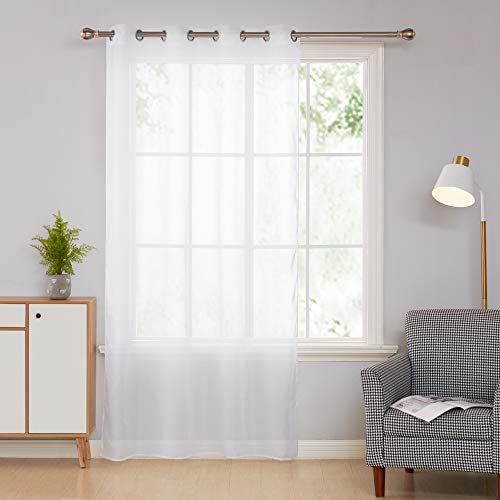 Rideau Voilage Blanc Uni à Oeillets pour Salon 140x240 cm