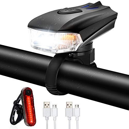 Ozvavzk Luci per Bicicletta USB Ricaricabili Luci Bicicletta 5 modalit Intelligente Luce Bici Anteriore e Posteriore LED Set per Autisti notturni Ciclismo e Campeggio.