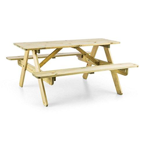blumfeldt Picknickerchen - Kinder-Picknick-Tisch, Spieltisch, Gartentisch, 35 cm Sitzhöhe, kurzer Bank-Tisch-Abstand, abgerundete Kanten und Ecken, witterungsfest, Kiefern-Echtholz, Hellbraun
