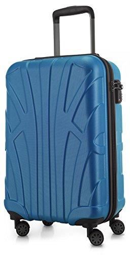 Suitline Handgepäck Hartschalen-Koffer Koffer Trolley Rollkoffer Reisekoffer, TSA, 55 cm, ca. 34 Liter, 100{46b7e17f8845dba4d6482fb8a33b42fda18c06589c2c207bc96cd174eaadaf72} ABS Matt, Cyanblau