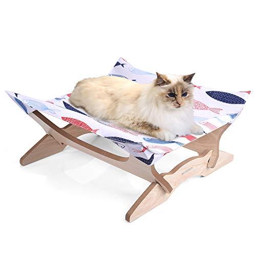 【Amazon.co.jp 限定】 Blueekin 猫ハンモック 木製 キャットハンモック 猫ベッド ペットハンモックベッド ...