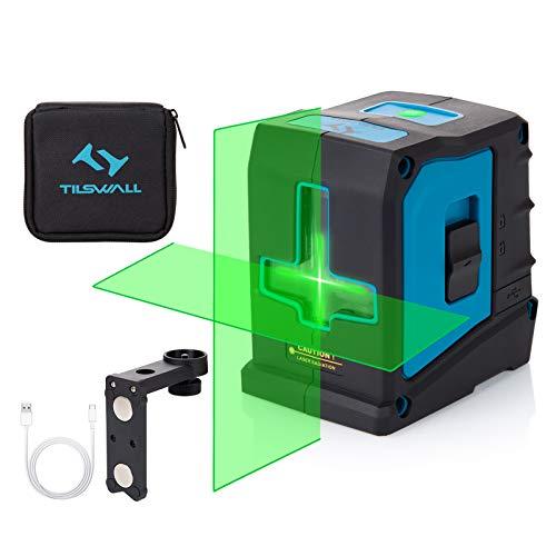 Nivel Láser 30M Verde Autonivelación Verde Tilswall 360 ° Rotación Con Triple Brillo,Gran Angular De 120 °, Módulo De Dos Láser,Soporte Magnético,1 X Cable Usb Para Decoración Interior Y Exterior