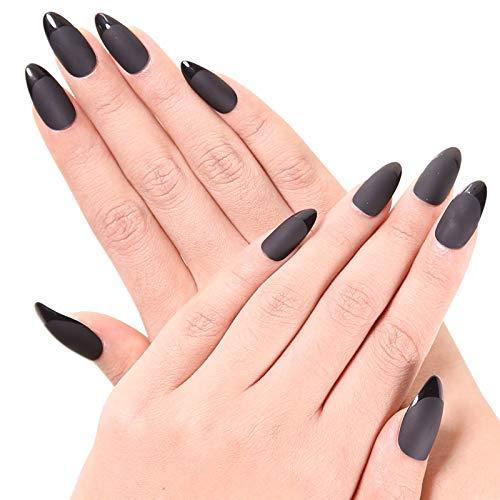 Nail Tips Black Fake Nails - Ejiubas Witch Black False Nail Tips Acrylic Nails Tips Full Cover Stiletto Nails Matte with Glossy Medium Artificial Nails 24pcs with 1 Nail Glue