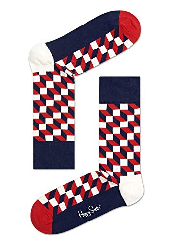 Happy Socks Filled Optic Sock Calzini, 100 DEN, Multicolore (Multicolore (068), 40 (Taille...