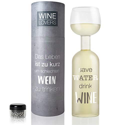 Wine Lovers Weinflasche Glas Save Water, Drink Wein - Weinglas Flasche XXL mit Spruch - Weinglas...