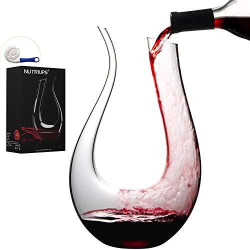 NUTRIUPS Decanter per Vino Caraffa per Vino in Cristallo Vetro Forma a U 1.5L Aeratore per Vino Rosso Caraffa di Sfiato per Vino Soffiato a Mano Decanter con Accessori & Spazzola per Pulizia
