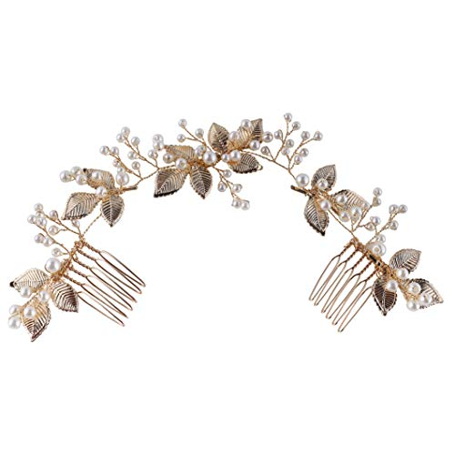 Silver Bridal Hair Accessories - Vintage Wedding Pearl Crystals Rhinestones hair comb Jewelry - Flower Leaf Hair Clips… 3