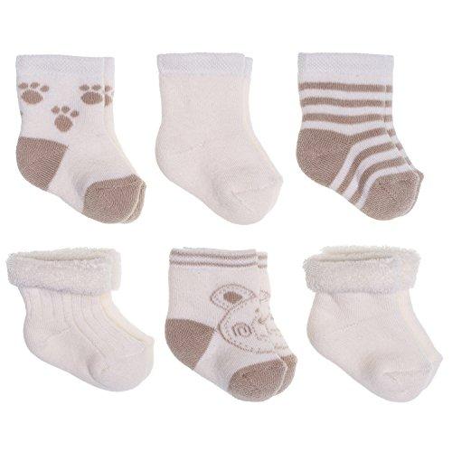 Set di 6 paia di Calzini per Neonato - Calzini Nascita con Orsacchiotto - Piccole Calze per Bambini - in Cotone Spugna, Morbidi e Caldi (0-3 mesi) - Beige Crema