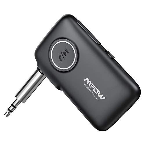 Mpow Nuovo V5.0 Ricevitore Bluetooth con CSR Core, 12 Ore Playtime e 30m Gamma, (Microfono Incorporato) Chiamate in Vivavoce e Navigazione Vocale, LED Light Design per Auto AUX, Cuffie, Altoparlanti