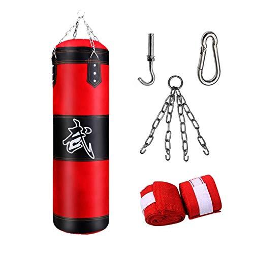 Sac de Frappe Boxe,MMA Punching Ball Muay Thai Arts Martiaux Kickboxing Kit,Non rempli,Boxe avec Gants Chaine Suspension Punching Bag,Postuler à Adulte Enfant