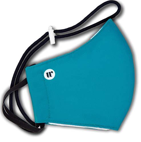 WEARK Mascarilla higienica reutilizable homologada 100% microfibra certificado 96 lavados funda interior para filtro y sistema de cierre trasero (Adulto M) Azul Océano