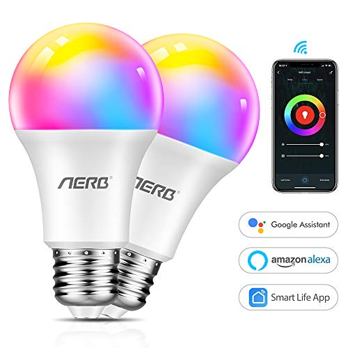 Aerb lampadina smart wifi E27,Lampadina Wi-Fi Intelligente LED 9W 1000LM Multicolore Dimmerabile...