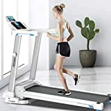 Treadmill, 2.0HP Folding Health & Fitness Exercise Treadmill for Home Gym, LCD Display Motorized Running Treadmill with Speakers Bluetooth(White)