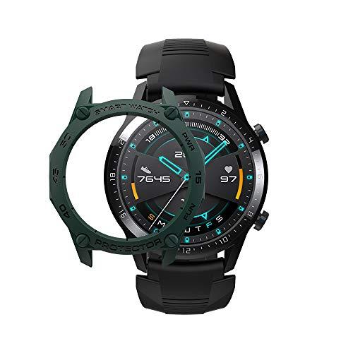SIKAI Capa amortecedora para Huawei Watch GT 2 de 46 mm Smart Watch anti-arranhões à prova de choque capa protetora TPU para Huawei Watch GT2 2019 ultra leve e multicores (verde escuro)