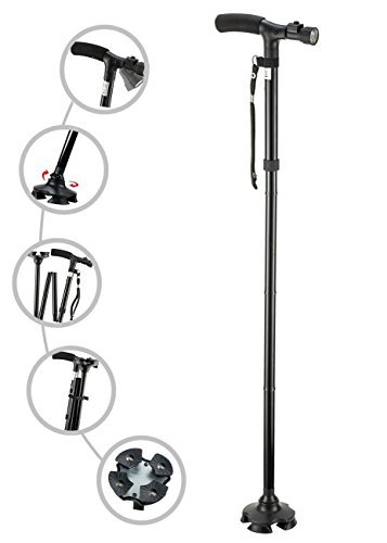 My Cane – Pivoting Quad Base, Folding Cane with Adjustable led Light and Cushion Handle