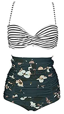 Sizes(recommend):Small:US2/US4 Medium:US6 Large:US8 X-Large:US10 XX-Large:US12 XXX-Large:US14 XXXXL-Large:US16/US18 Hand wash cold, line dry;Polyester Spandex Swimsuit Fabric Pattern:Vintage,Antigua Floral Twist Top,Halter High waisted Ruched Bikini ...