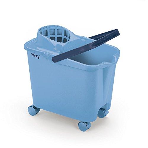 Mery 0325.31 fregona Ruedas giratorias | Cubo con escurridor Amplio | Resistencia máxima | Azul Celeste | Capacidad 14 litros, Polipropileno, 25.5 x 39 x 36.5 cm