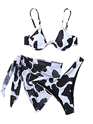 82% Polyester, 18% Spandex, fabric is very stretchy Sexy swimwear bikini sets including triangle top, low waist thong and cover up skirt Top: push up cup, underwire, removable padded, sexy bikini top Bottom: high cut, beachwear thong g-string, knot s...