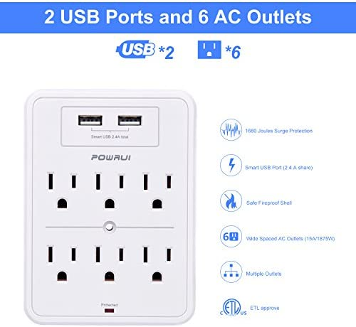 POWRUI Surge Protector, USB Wall Charger with 2 USB Charging Ports(Smart 2.4A Total), 6-Outlet Extender and Top Phone Holder for Your Cell Phone, White, ETL Listed 13