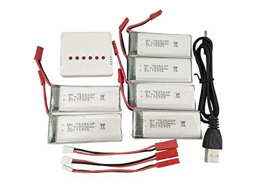 mrwellog Batteria al Litio Set 3,7 V 900 mAh 6 Pezzi con bilanciamento 6in1 (Bianco) e Linea di conversione 3 Pezzi per Drone 8807 / 8807W