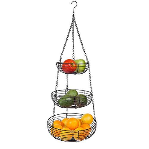 KUTO 3-lagiger Hängender Obstkorb, Elegante Eisenkörbe zum Aufhängen von Obstkörben für Küchenrestaurants Abnehmbare Aufbewahrungskörbe aus Gestuftem Metall für Obst Und Gemüse