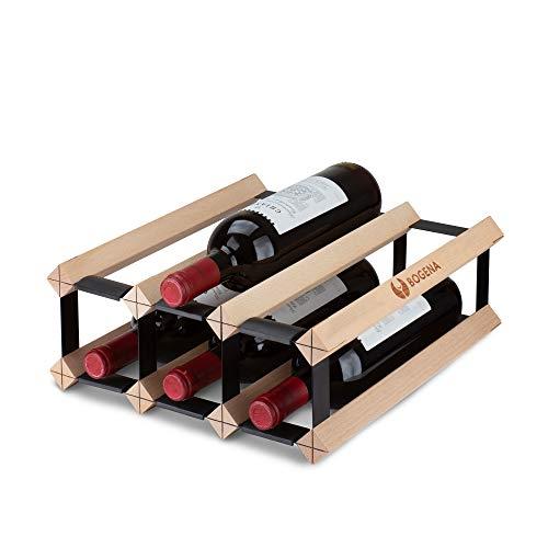 BOGENA Cantinetta in legno design unico disponibile in 3 varianti stabile, durevole e moderno Elegante portabottiglie per la vostra collezione di vino di casa (6 bottiglie)